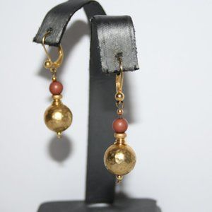 Vintage gold and brown dangle earrings